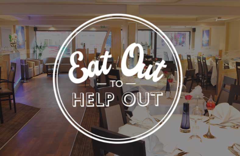 Eat Out to Help Out logo with Bina Tandoori restaurant in the background